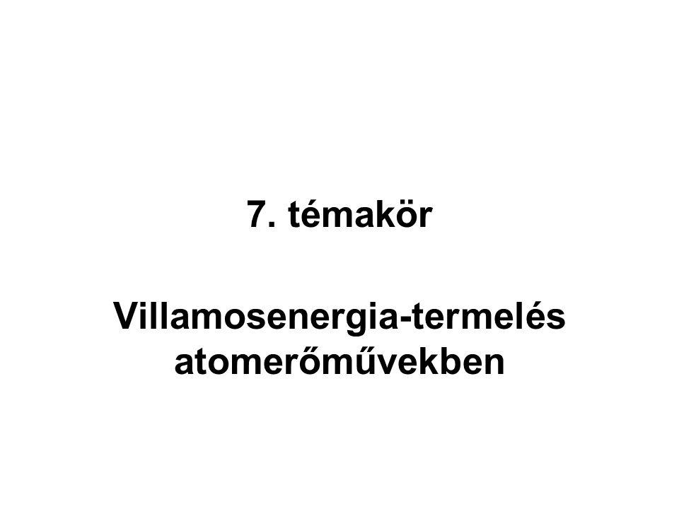 7. témakör Villamosenergia-termelés atomerőművekben