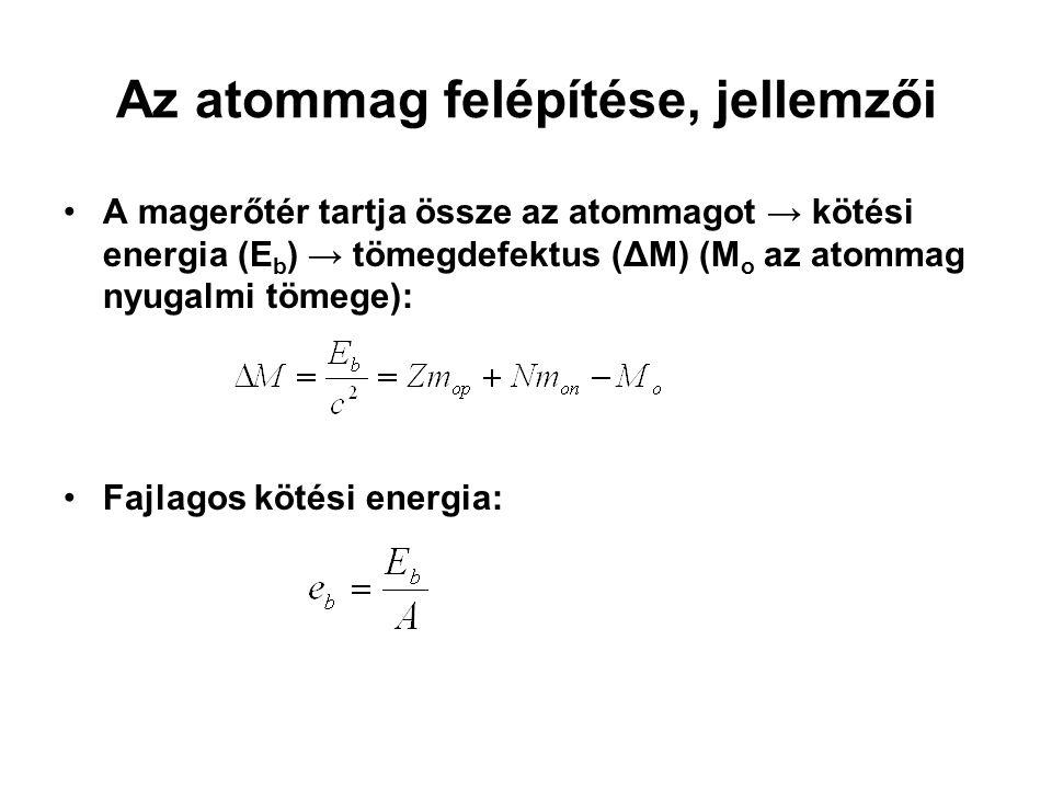 Az atommag felépítése, jellemzői A magerőtér tartja össze az atommagot → kötési energia (E b ) → tömegdefektus (ΔM) (M o az atommag nyugalmi tömege):
