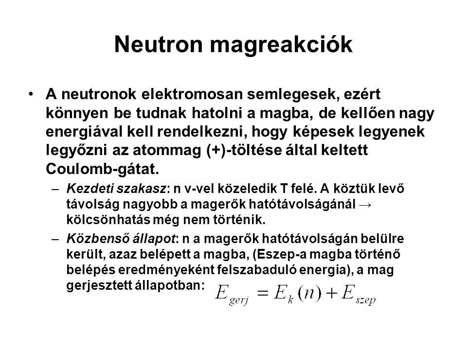 Neutron magreakciók A neutronok elektromosan semlegesek, ezért könnyen be tudnak hatolni a magba, de kellően nagy energiával kell rendelkezni, hogy ké