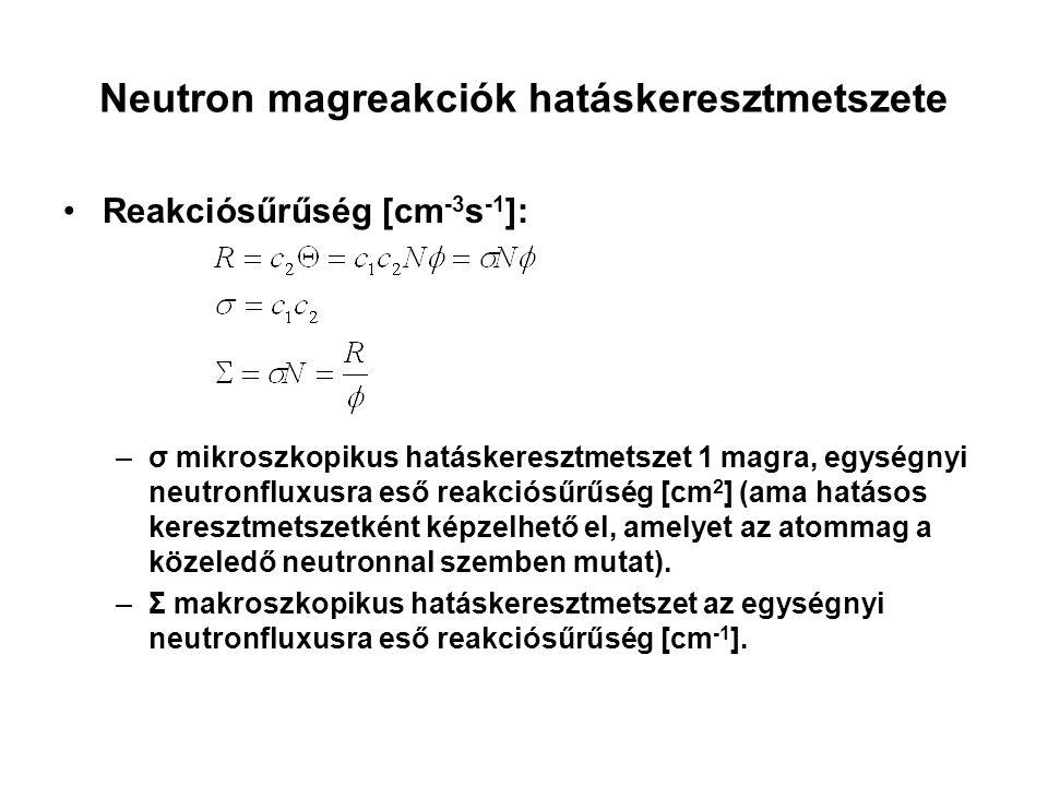 Neutron magreakciók hatáskeresztmetszete Reakciósűrűség [cm -3 s -1 ]: –σ mikroszkopikus hatáskeresztmetszet 1 magra, egységnyi neutronfluxusra eső re