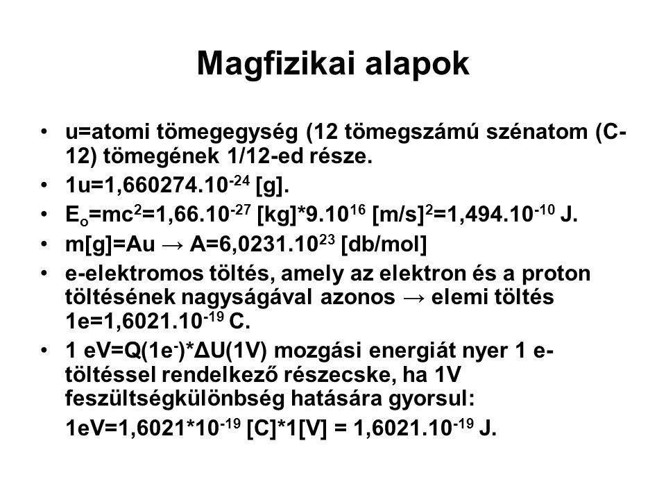 Magfizikai alapok u=atomi tömegegység (12 tömegszámú szénatom (C- 12) tömegének 1/12-ed része. 1u=1,660274.10 -24 [g]. E o =mc 2 =1,66.10 -27 [kg]*9.1