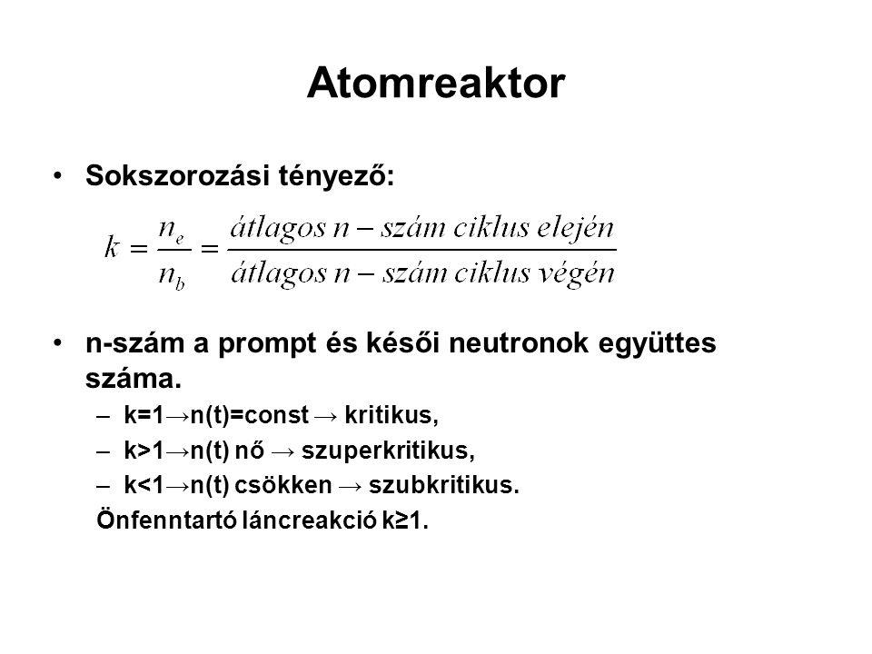 Atomreaktor Sokszorozási tényező: n-szám a prompt és késői neutronok együttes száma. –k=1→n(t)=const → kritikus, –k>1→n(t) nő → szuperkritikus, –k<1→n