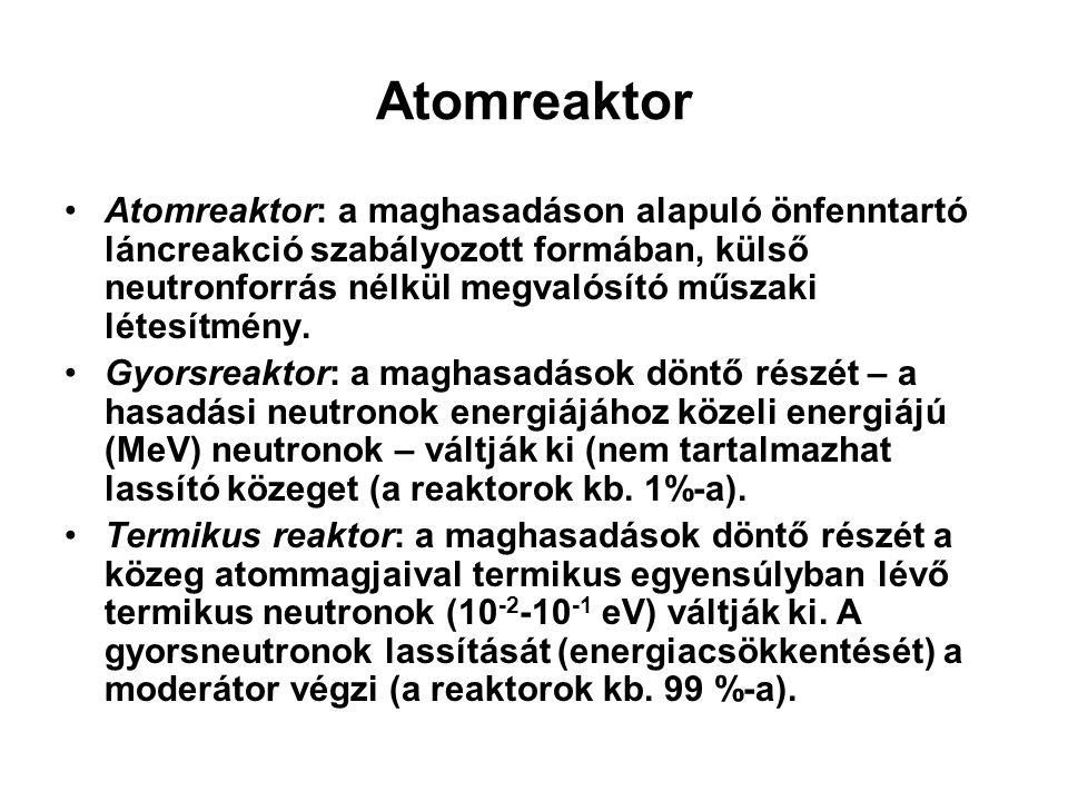 Atomreaktor Atomreaktor: a maghasadáson alapuló önfenntartó láncreakció szabályozott formában, külső neutronforrás nélkül megvalósító műszaki létesítm