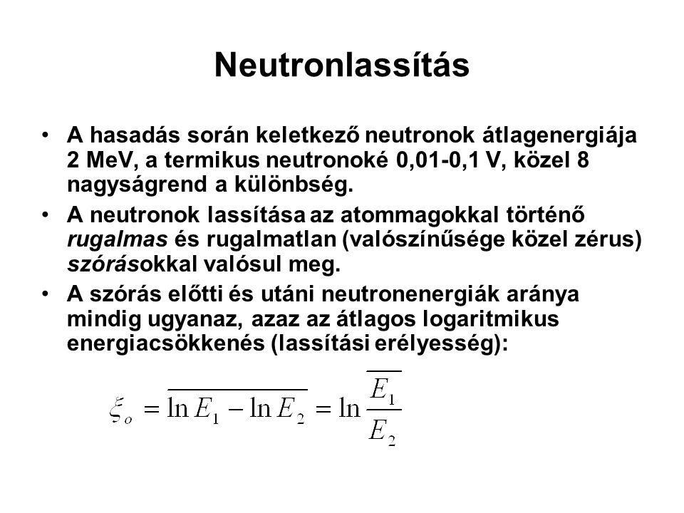 Neutronlassítás A hasadás során keletkező neutronok átlagenergiája 2 MeV, a termikus neutronoké 0,01-0,1 V, közel 8 nagyságrend a különbség. A neutron