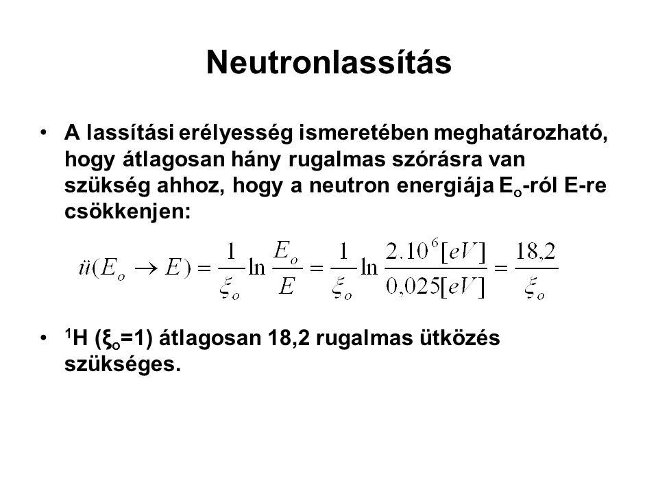 Neutronlassítás A lassítási erélyesség ismeretében meghatározható, hogy átlagosan hány rugalmas szórásra van szükség ahhoz, hogy a neutron energiája E