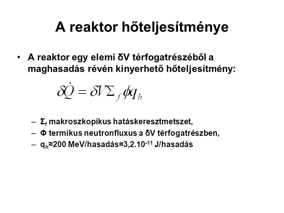 A reaktor hőteljesítménye A reaktor egy elemi δV térfogatrészéből a maghasadás révén kinyerhető hőteljesítmény: –Σ f makroszkopikus hatáskeresztmetsze