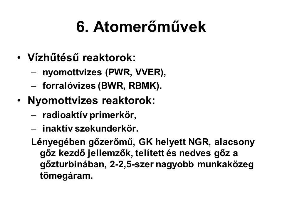 6. Atomerőművek Vízhűtésű reaktorok: – nyomottvizes (PWR, VVER), – forralóvizes (BWR, RBMK). Nyomottvizes reaktorok: – radioaktív primerkör, – inaktív