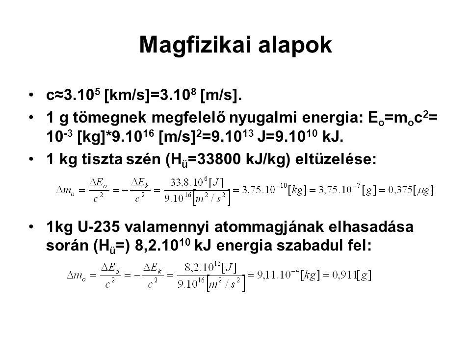 Magfizikai alapok c≈3.10 5 [km/s]=3.10 8 [m/s]. 1 g tömegnek megfelelő nyugalmi energia: E o =m o c 2 = 10 -3 [kg]*9.10 16 [m/s] 2 =9.10 13 J=9.10 10