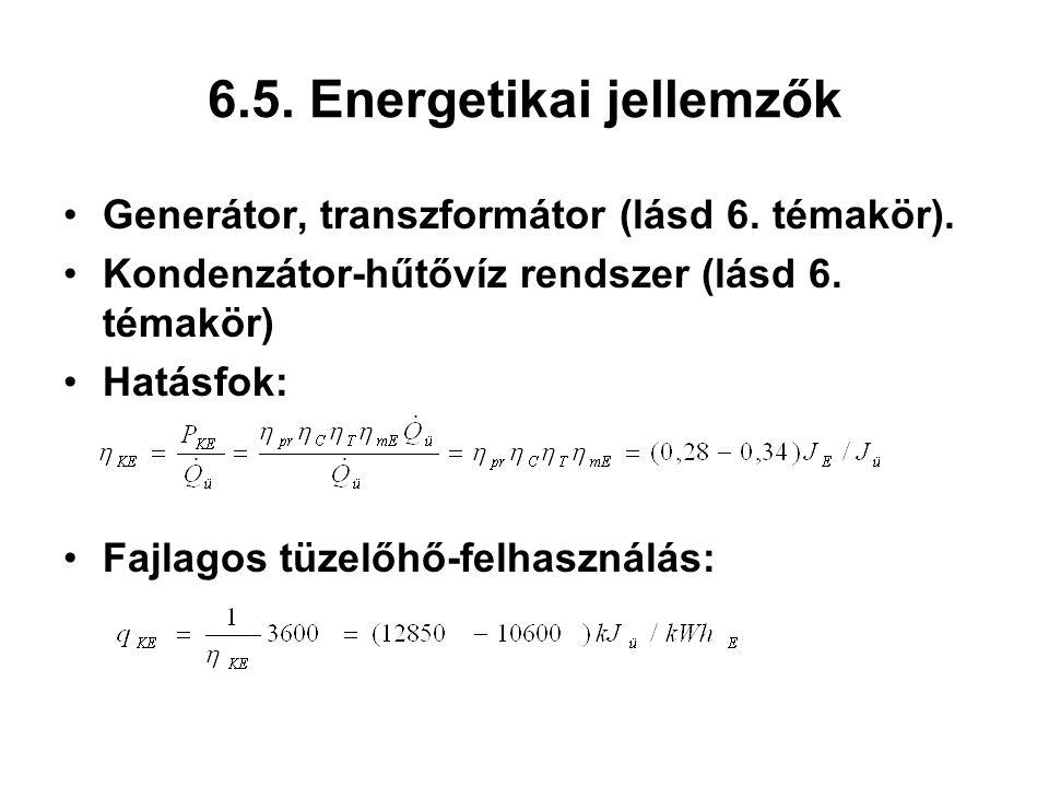 6.5. Energetikai jellemzők Generátor, transzformátor (lásd 6. témakör). Kondenzátor-hűtővíz rendszer (lásd 6. témakör) Hatásfok: Fajlagos tüzelőhő-fel