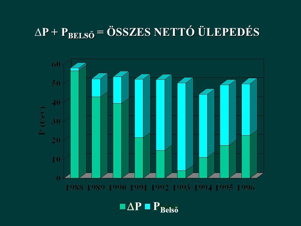 PP P Belső P + P BELSŐ = ÖSSZES NETTÓ ÜLEPEDÉS  P + P BELSŐ = ÖSSZES NETTÓ ÜLEPEDÉS
