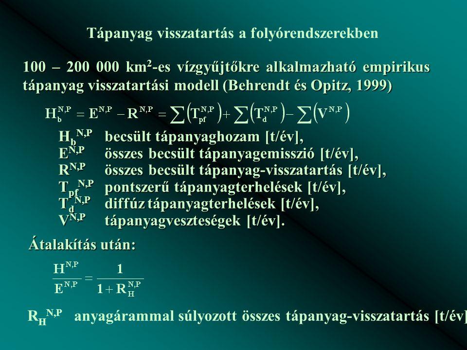 Tápanyag visszatartás a folyórendszerekben 100 – 200 000 km 2 -es vízgyűjtőkre alkalmazható empirikus tápanyag visszatartási modell (Behrendt és Opitz, 1999) H b N,P becsült tápanyaghozam [t/év], E N,P összes becsült tápanyagemisszió [t/év], R N,P összes becsült tápanyag-visszatartás [t/év], T pf N,P pontszerű tápanyagterhelések [t/év], T d N,P diffúz tápanyagterhelések [t/év], V N,P tápanyagveszteségek [t/év].