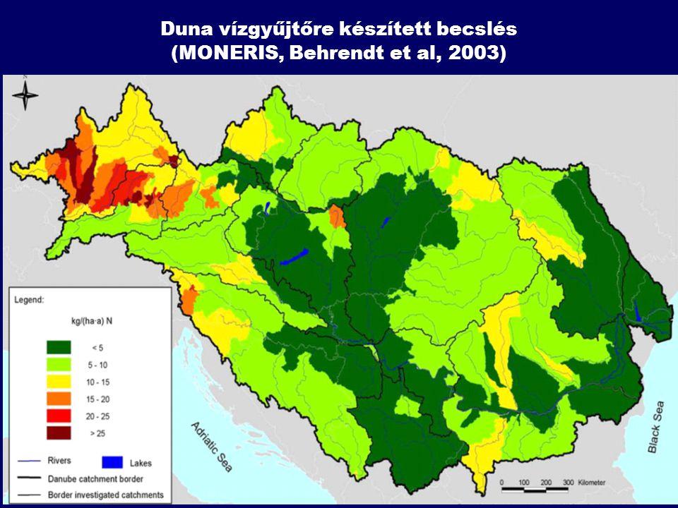 Duna vízgyűjtőre készített becslés (MONERIS, Behrendt et al, 2003)