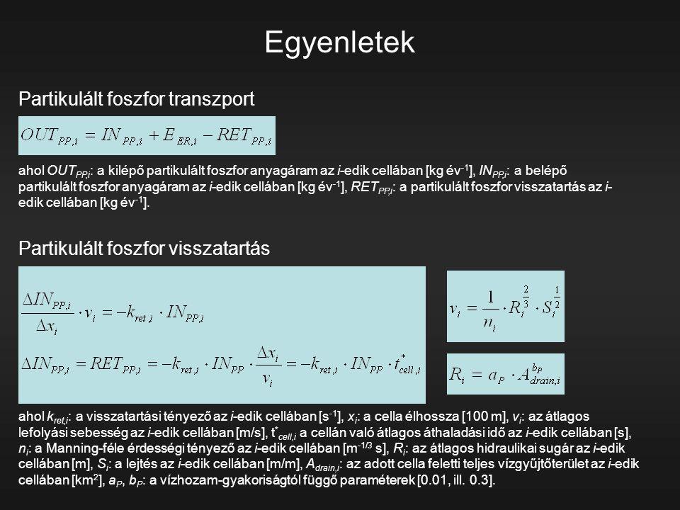 Egyenletek Partikulált foszfor transzport ahol OUT PP,i : a kilépő partikulált foszfor anyagáram az i-edik cellában [kg év -1 ], IN PP,i : a belépő pa