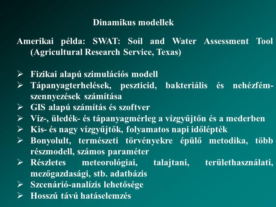 Dinamikus modellek Amerikai példa: SWAT: Soil and Water Assessment Tool (Agricultural Research Service, Texas)  Fizikai alapú szimulációs modell  Tápanyagterhelések, peszticid, bakteriális és nehézfém- szennyezések számítása  GIS alapú számítás és szoftver  Víz-, üledék- és tápanyagmérleg a vízgyűjtőn és a mederben  Kis- és nagy vízgyűjtők, folyamatos napi időlépték  Bonyolult, természeti törvényekre épülő metodika, több részmodell, számos paraméter  Részletes meteorológiai, talajtani, területhasználati, mezőgazdasági, stb.
