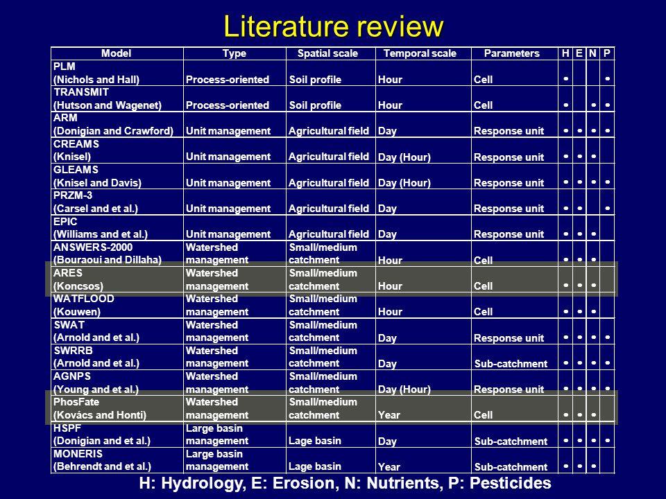 Egyenletek Partikulált foszfor transzport ahol OUT PP,i : a kilépő partikulált foszfor anyagáram az i-edik cellában [kg év -1 ], IN PP,i : a belépő partikulált foszfor anyagáram az i-edik cellában [kg év -1 ], RET PP,i : a partikulált foszfor visszatartás az i- edik cellában [kg év -1 ].