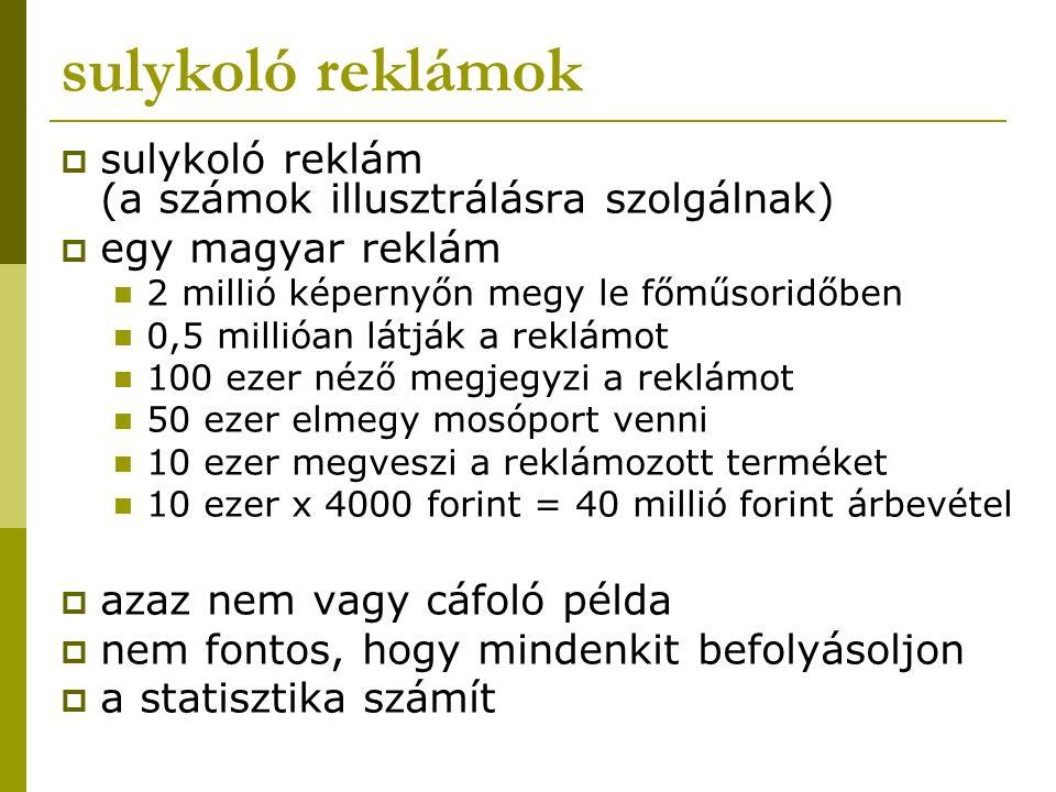 sulykoló reklámok  sulykoló reklám (a számok illusztrálásra szolgálnak)  egy magyar reklám 2 millió képernyőn megy le főműsoridőben 0,5 millióan lát