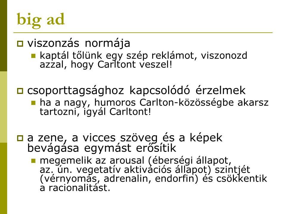 big ad  viszonzás normája kaptál tőlünk egy szép reklámot, viszonozd azzal, hogy Carltont veszel!  csoporttagsághoz kapcsolódó érzelmek ha a nagy, h