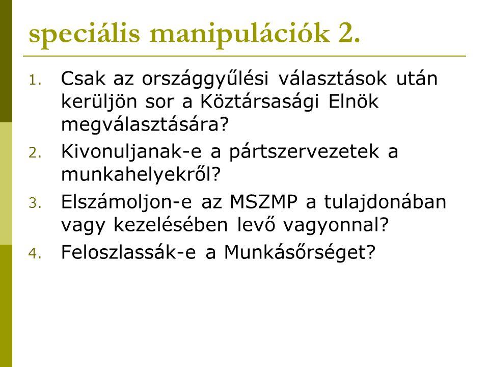 speciális manipulációk 2. 1. Csak az országgyűlési választások után kerüljön sor a Köztársasági Elnök megválasztására? 2. Kivonuljanak-e a pártszervez