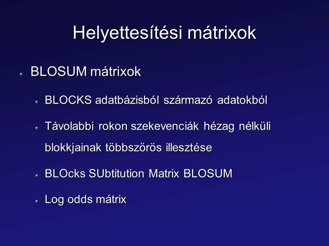 Helyettesítési mátrixok BLOSUM mátrixok BLOCKS adatbázisból származó adatokból Távolabbi rokon szekevenciák hézag nélküli blokkjainak többszörös illes