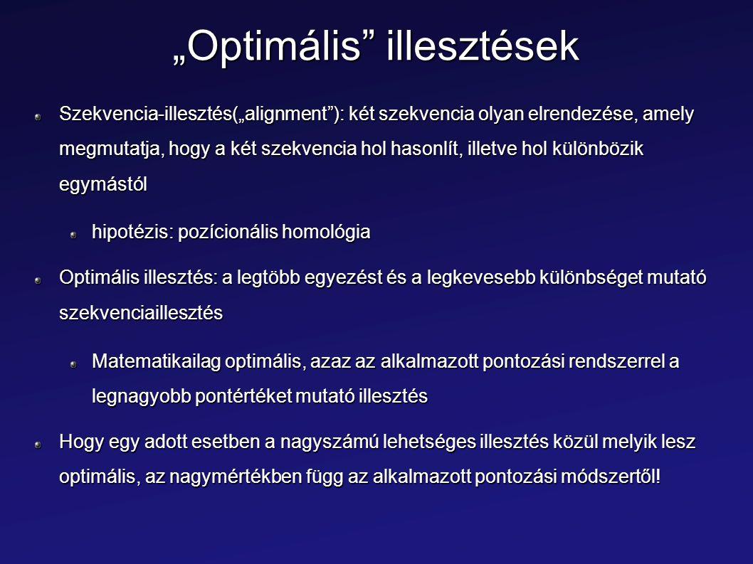 """""""Optimális"""" illesztések Szekvencia-illesztés(""""alignment""""): két szekvencia olyan elrendezése, amely megmutatja, hogy a két szekvencia hol hasonlít, ill"""