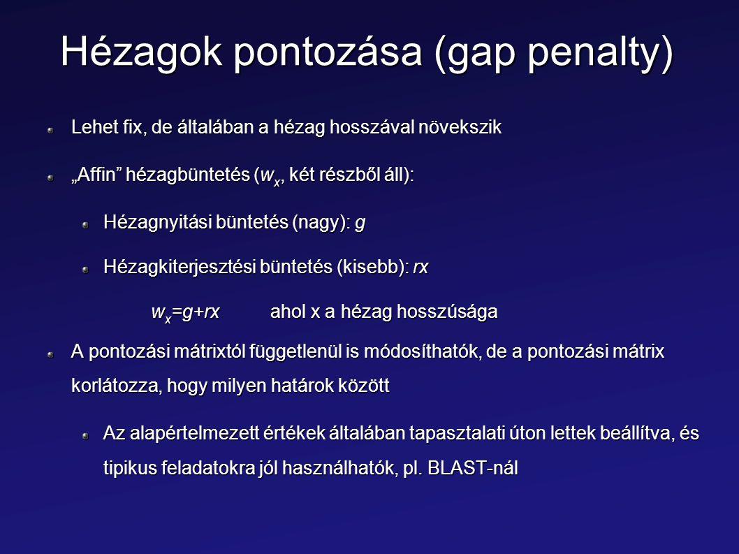 """Hézagok pontozása (gap penalty) Lehet fix, de általában a hézag hosszával növekszik """"Affin"""" hézagbüntetés (w x, két részből áll): Hézagnyitási bünteté"""