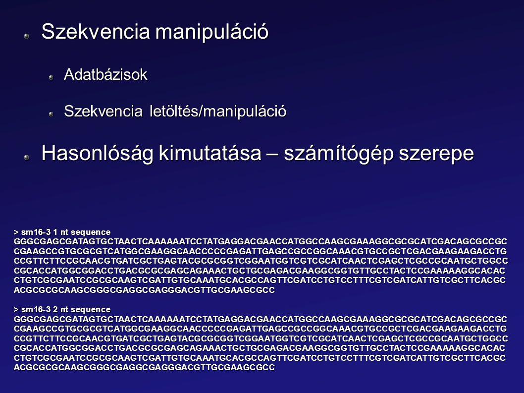 Szekvencia manipuláció Adatbázisok Szekvencia letöltés/manipuláció Hasonlóság kimutatása – számítógép szerepe > sm16-3 1 nt sequence GGGCGAGCGATAGTGCT