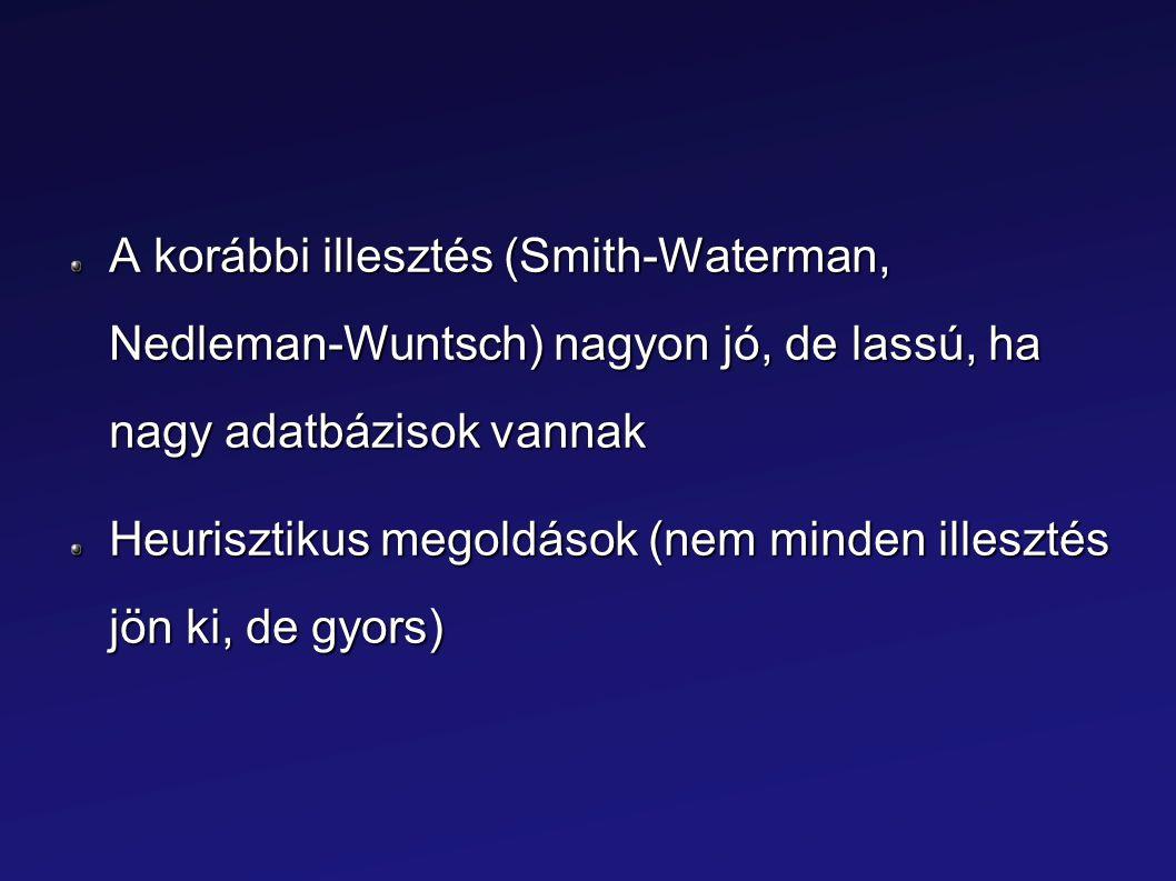 A korábbi illesztés (Smith-Waterman, Nedleman-Wuntsch) nagyon jó, de lassú, ha nagy adatbázisok vannak Heurisztikus megoldások (nem minden illesztés j