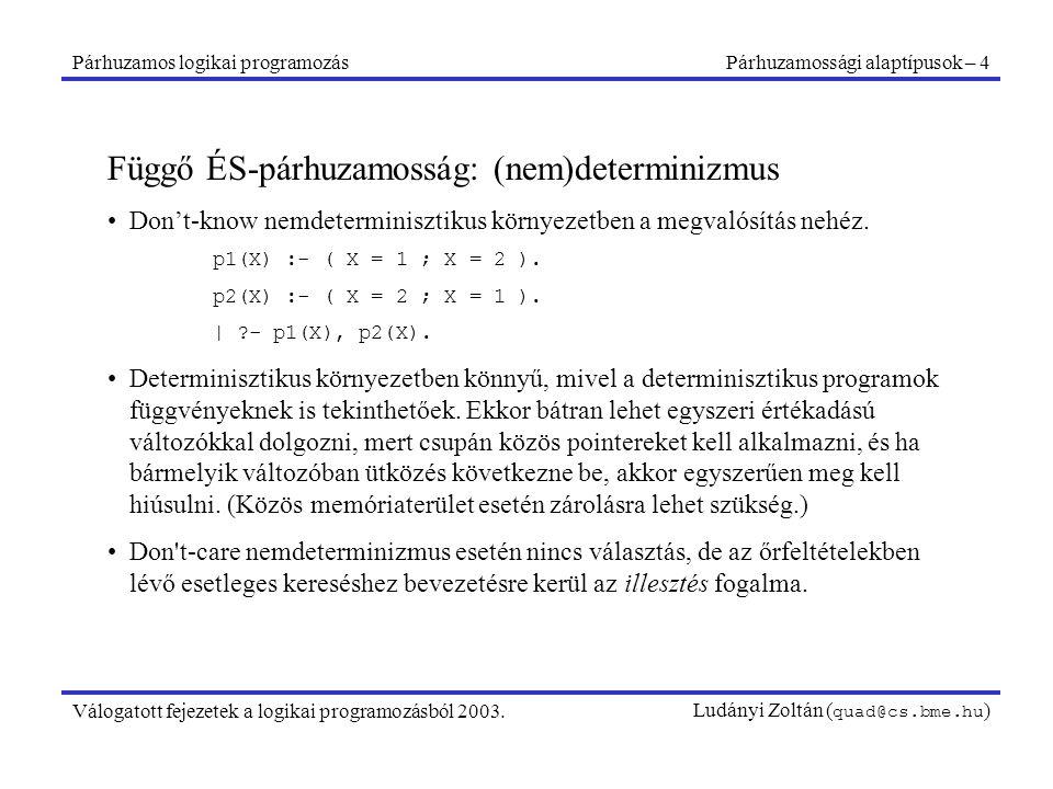 Párhuzamos logikai programozásPárhuzamossági alaptípusok – 4 Válogatott fejezetek a logikai programozásból 2003.Ludányi Zoltán ( quad@cs.bme.hu ) Függő ÉS-párhuzamosság: (nem)determinizmus Don't-know nemdeterminisztikus környezetben a megvalósítás nehéz.