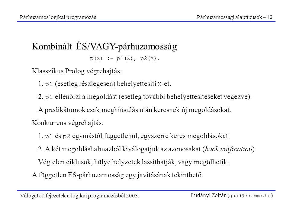 Párhuzamos logikai programozásPárhuzamossági alaptípusok – 12 Válogatott fejezetek a logikai programozásból 2003.Ludányi Zoltán ( quad@cs.bme.hu ) Kombinált ÉS/VAGY-párhuzamosság p(X) :- p1(X), p2(X).