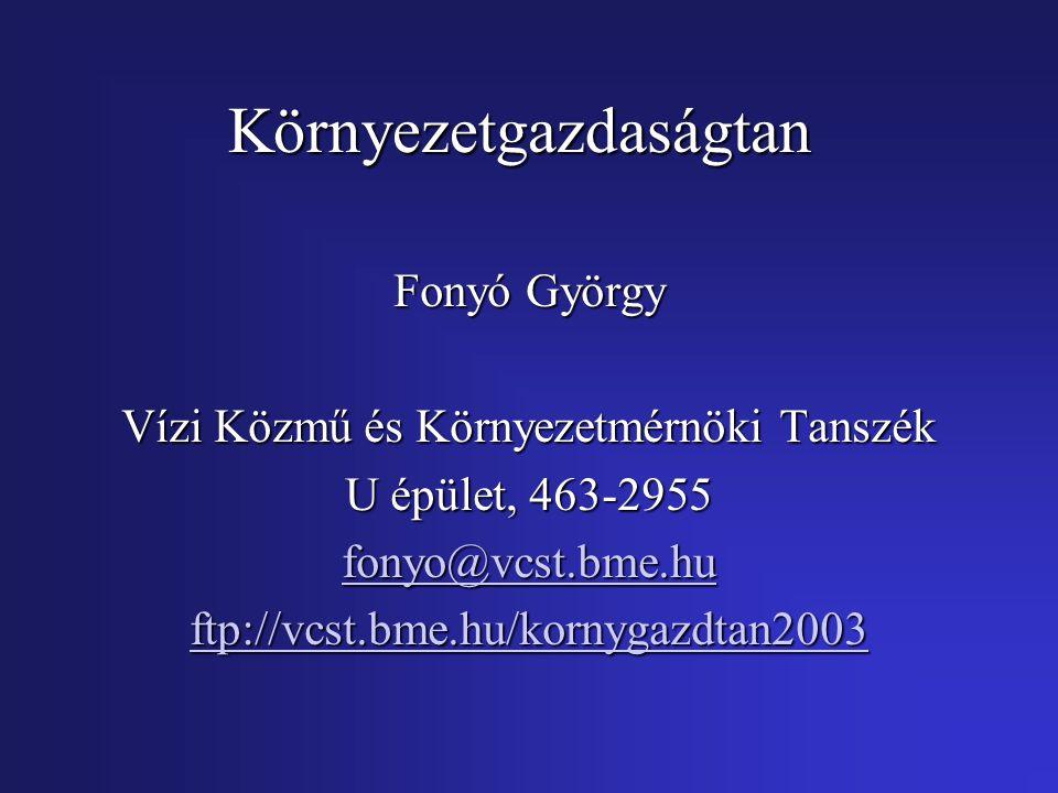 Környezetgazdaságtan Fonyó György Vízi Közmű és Környezetmérnöki Tanszék U épület, 463-2955 fonyo@vcst.bme.hu ftp://vcst.bme.hu/kornygazdtan2003