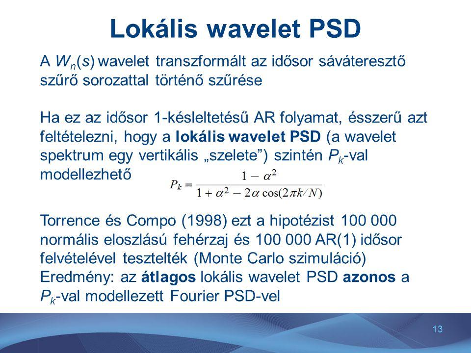 13 Lokális wavelet PSD A W n (s) wavelet transzformált az idősor sáváteresztő szűrő sorozattal történő szűrése Ha ez az idősor 1-késleltetésű AR folya