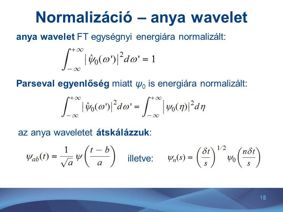 18 Normalizáció – anya wavelet anya wavelet FT egységnyi energiára normalizált: Parseval egyenlőség miatt ψ 0 is energiára normalizált: az anya wavele
