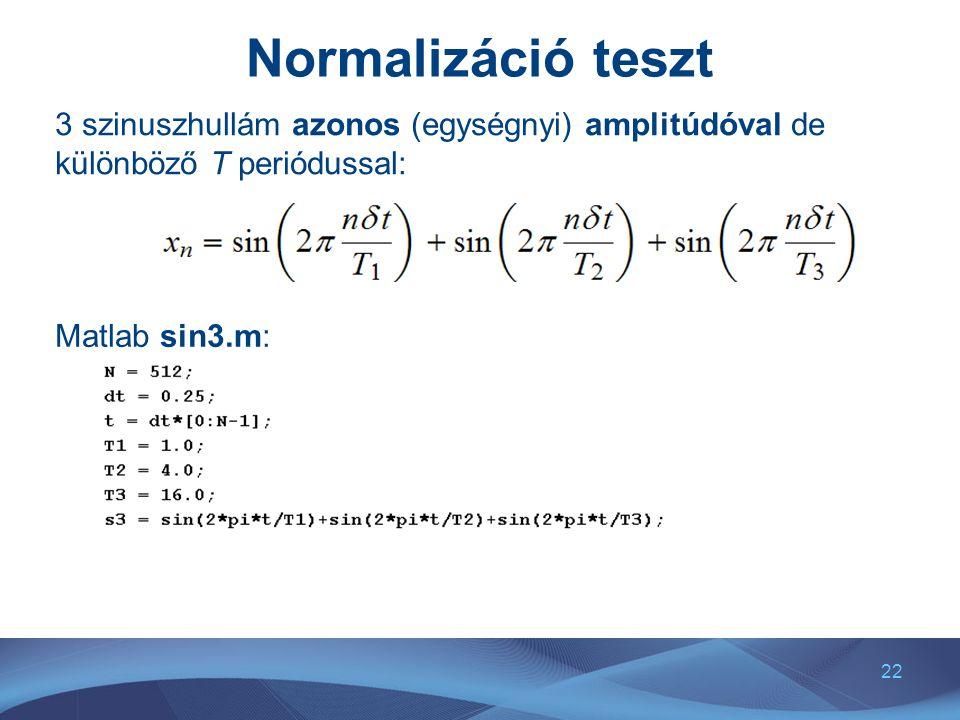 22 Normalizáció teszt 3 szinuszhullám azonos (egységnyi) amplitúdóval de különböző T periódussal: Matlab sin3.m:
