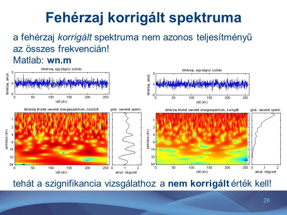 26 Fehérzaj korrigált spektruma a fehérzaj korrigált spektruma nem azonos teljesítményű az összes frekvencián! Matlab: wn.m tehát a szignifikancia viz