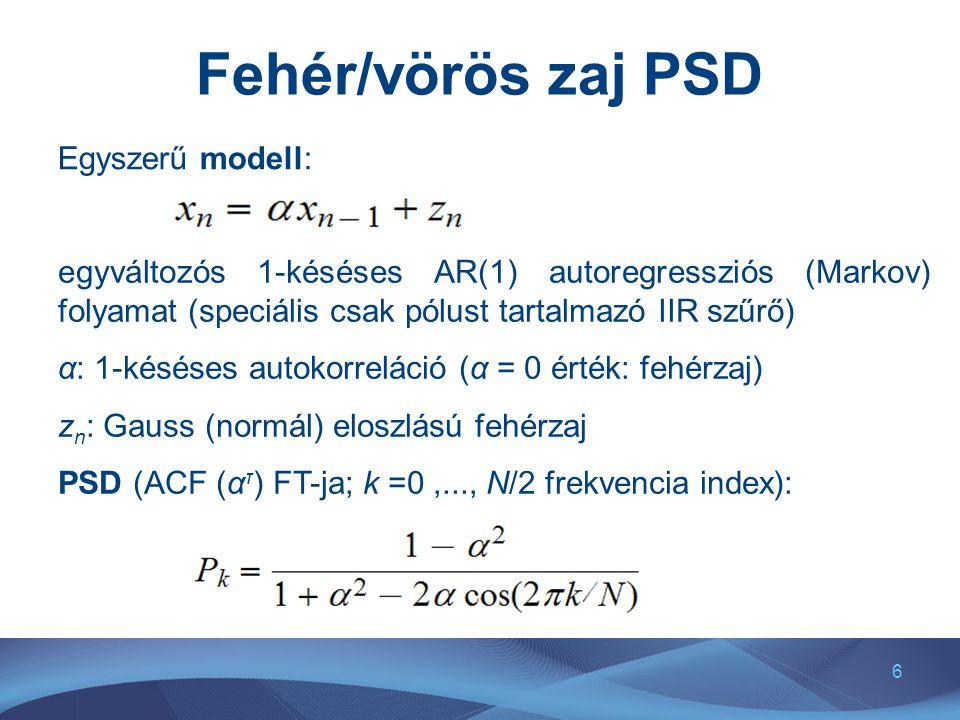 6 Fehér/vörös zaj PSD Egyszerű modell: egyváltozós 1-késéses AR(1) autoregressziós (Markov) folyamat (speciális csak pólust tartalmazó IIR szűrő) α: 1