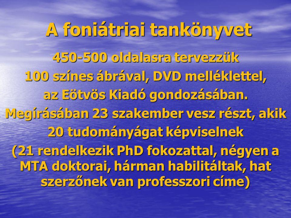 A foniátriai tankönyvet 450-500 oldalasra tervezzük 100 színes ábrával, DVD melléklettel, az Eötvös Kiadó gondozásában. Megírásában 23 szakember vesz