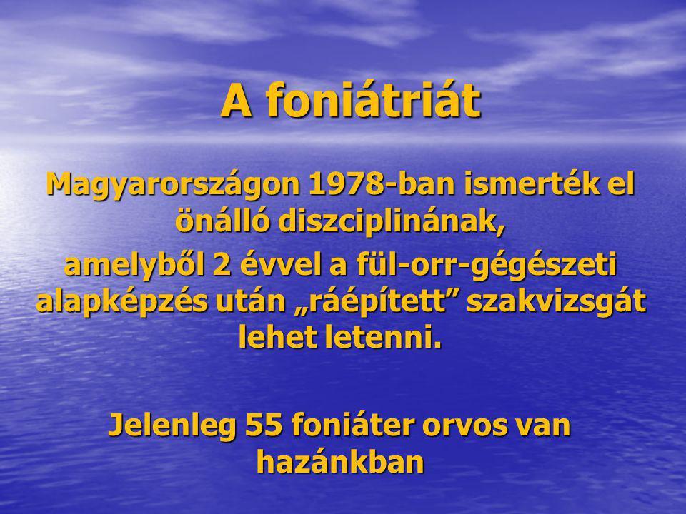 """A foniátriát Magyarországon 1978-ban ismerték el önálló diszciplinának, amelyből 2 évvel a fül-orr-gégészeti alapképzés után """"ráépített"""" szakvizsgát l"""