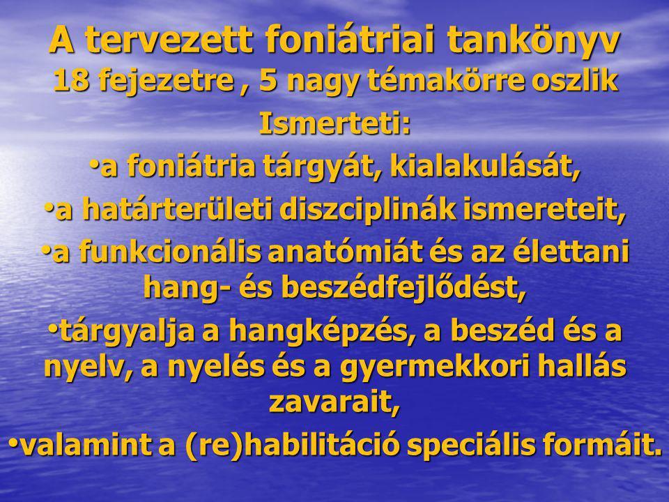 A foniátriai tankönyv tartalomjegyzéke Előszó (Sziklai I.) Bevezetés (Hirschberg J., Hacki T., Mészáros K.) Bevezetés (Hirschberg J., Hacki T., Mészáros K.) 1.