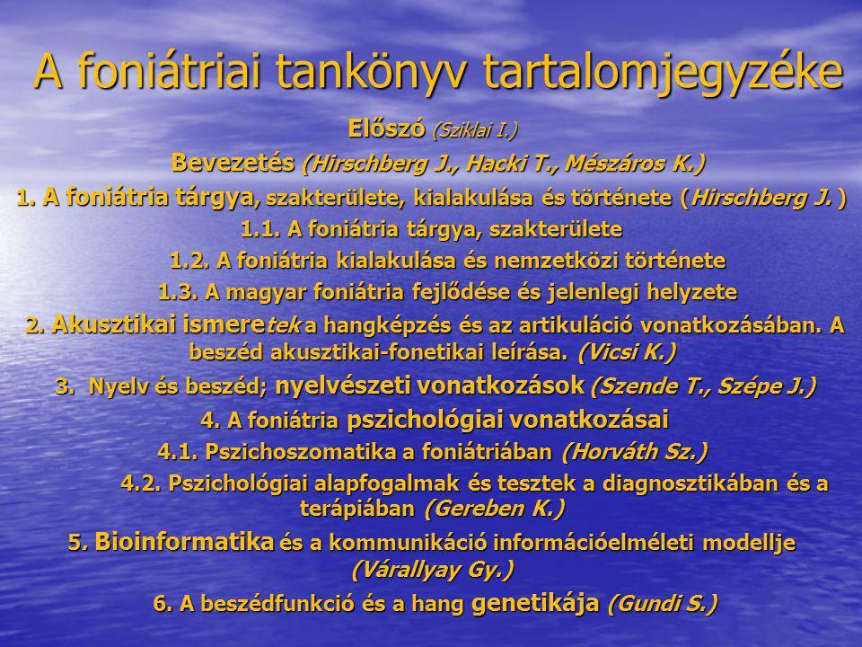 A foniátriai tankönyv tartalomjegyzéke Előszó (Sziklai I.) Bevezetés (Hirschberg J., Hacki T., Mészáros K.) Bevezetés (Hirschberg J., Hacki T., Mészár
