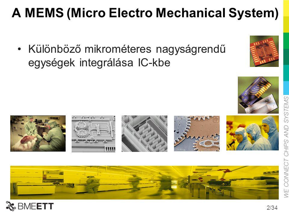/34 A MEMS (Micro Electro Mechanical System) Különböző mikrométeres nagyságrendű egységek integrálása IC-kbe 2