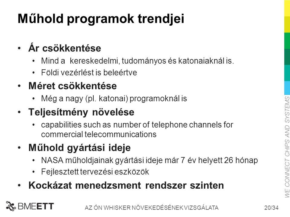 /34 Műhold programok trendjei Ár csökkentése Mind a kereskedelmi, tudományos és katonaiaknál is. Földi vezérlést is beleértve Méret csökkentése Még a