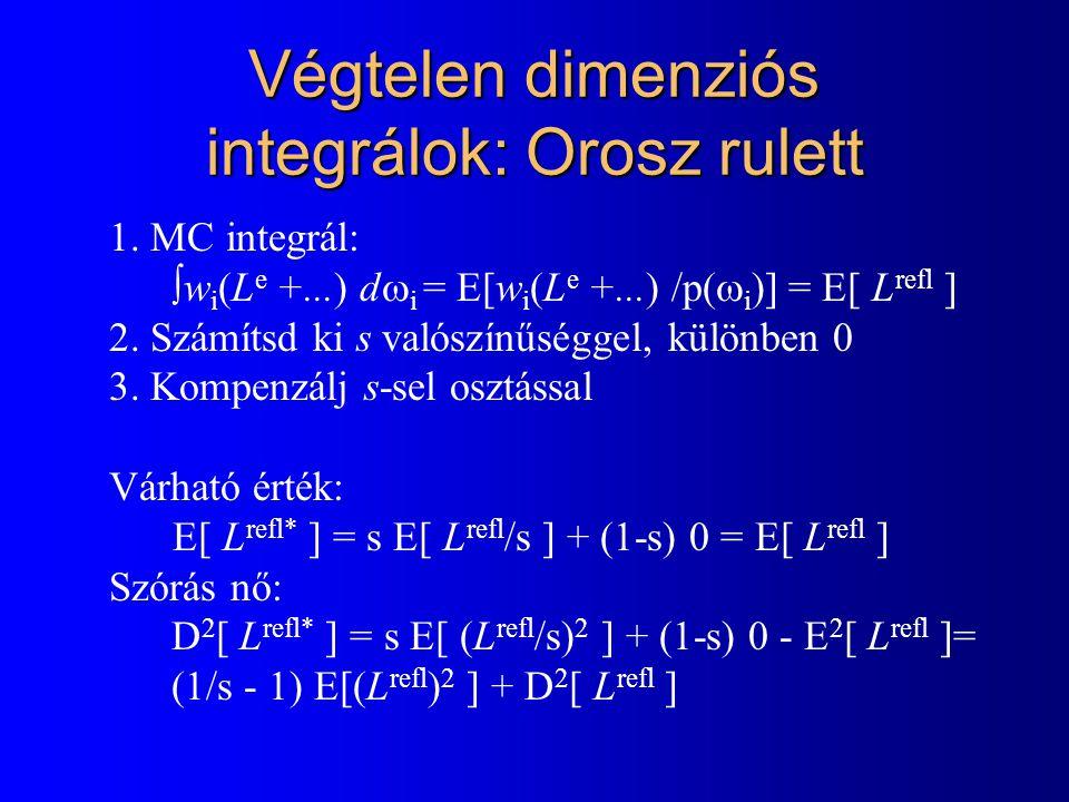 Végtelen dimenziós integrálok: Orosz rulett 1. MC integrál:  w i  L e +...) d  i = E[w i  L e +...) /p(  i )] = E[ L refl ] 2. Számítsd ki s való
