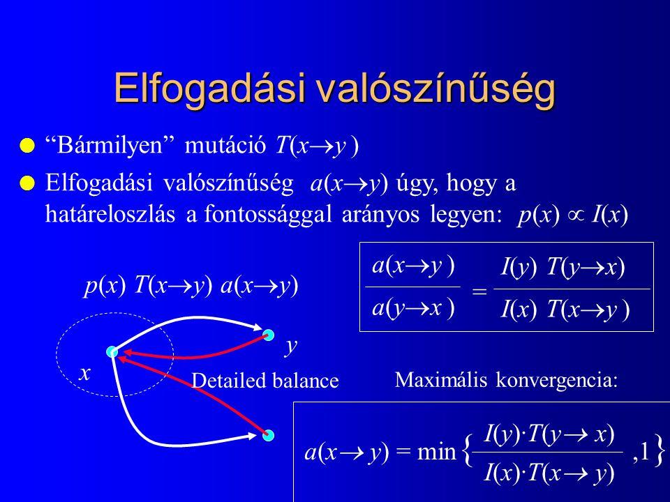 """Elfogadási valószínűség l """"Bármilyen"""" mutáció T(x  y ) l Elfogadási valószínűség a(x  y) úgy, hogy a határeloszlás a fontossággal arányos legyen: p("""