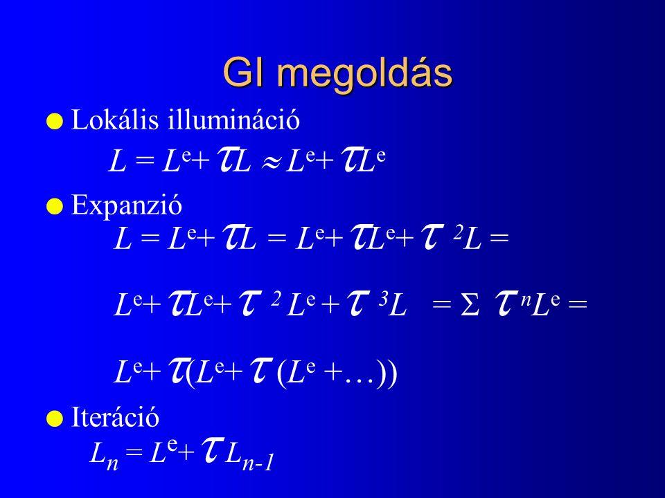 Fényforrás mintavétel Le1*Le1* Le2*Le2* Le3*Le3* Le1*Le1* L e 2 * Le3*Le3* shadow rays L = L e +  L e +  2 L e +  3 L e...