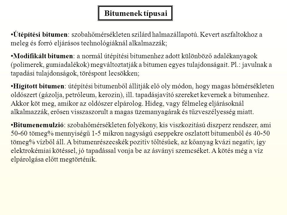 Bitumenek típusai Útépítési bitumen: szobahőmérsékleten szilárd halmazállapotú.