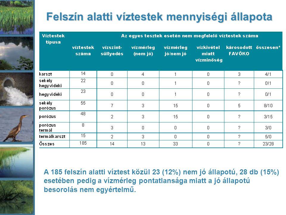 Felszín alatti víztestek mennyiségi állapota A 185 felszín alatti víztest közül 23 (12%) nem jó állapotú, 28 db (15%) esetében pedig a vízmérleg pontatlansága miatt a jó állapotú besorolás nem egyértelmű.