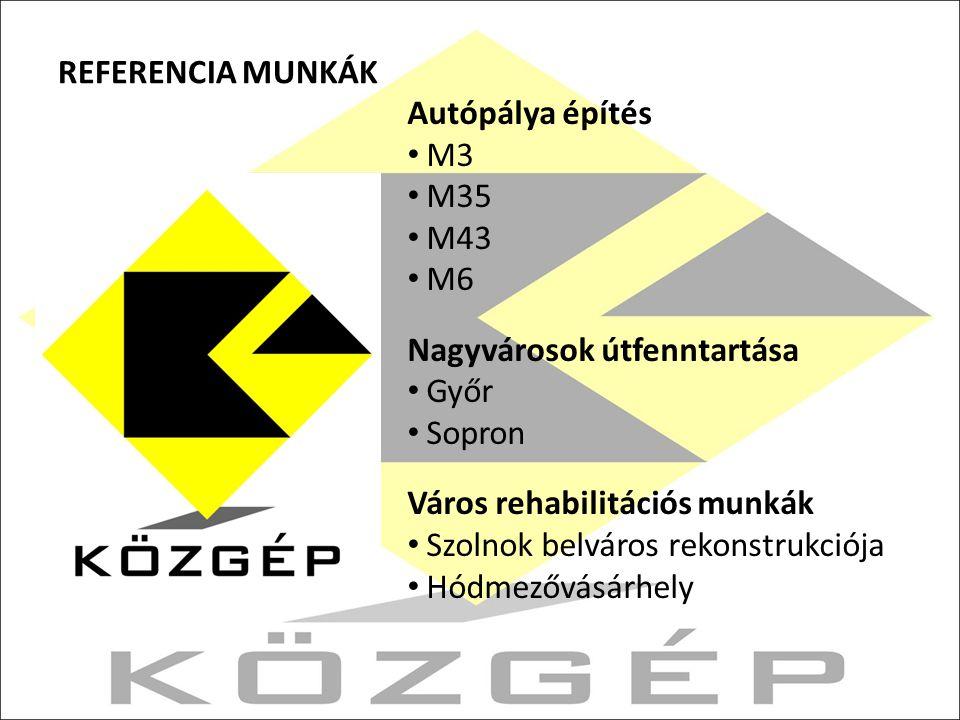 REFERENCIA MUNKÁK Autópálya építés M3 M35 M43 M6 Nagyvárosok útfenntartása Győr Sopron Város rehabilitációs munkák Szolnok belváros rekonstrukciója Hódmezővásárhely