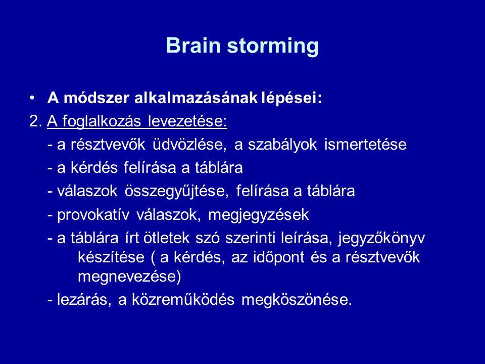 Brain storming A módszer alkalmazásának lépései: 2. A foglalkozás levezetése: - a résztvevők üdvözlése, a szabályok ismertetése - a kérdés felírása a