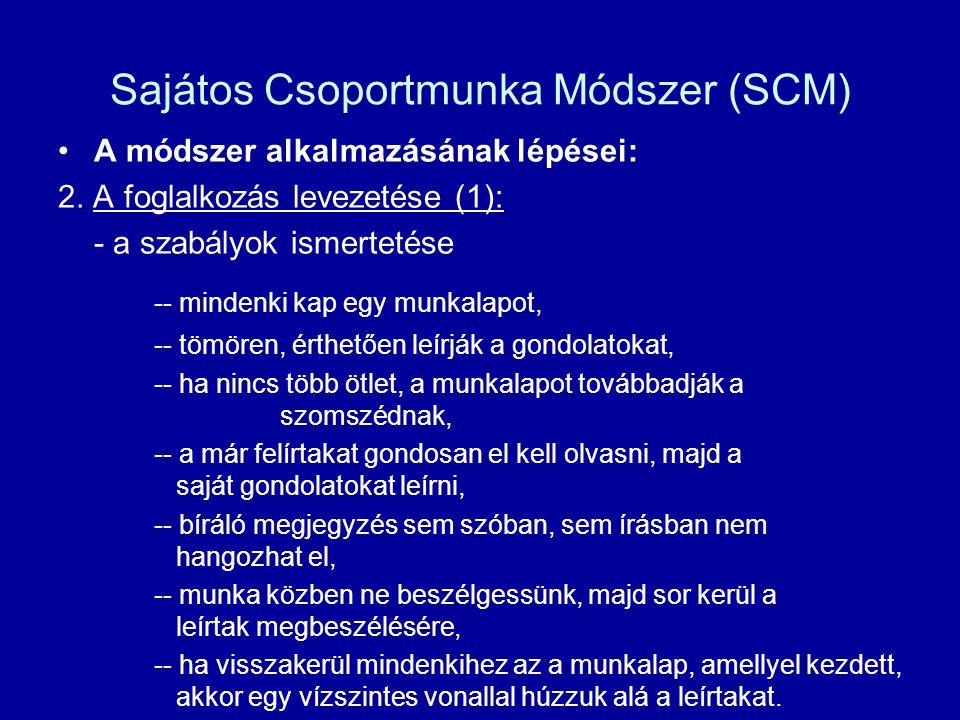 Sajátos Csoportmunka Módszer (SCM) A módszer alkalmazásának lépései: 2. A foglalkozás levezetése (1): - a szabályok ismertetése -- mindenki kap egy mu