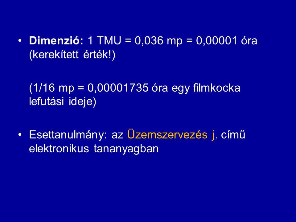 Dimenzió: 1 TMU = 0,036 mp = 0,00001 óra (kerekített érték!) (1/16 mp = 0,00001735 óra egy filmkocka lefutási ideje) Esettanulmány: az Üzemszervezés j